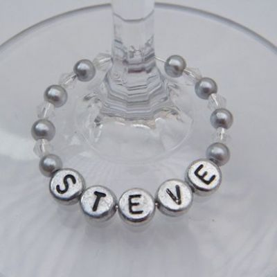 Personalised Name Wine Glass Charms - Full Bead Style